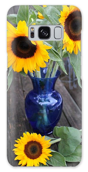 Sunflowers And Blue Vase - Still Life Galaxy Case by Dora Sofia Caputo Photographic Art and Design