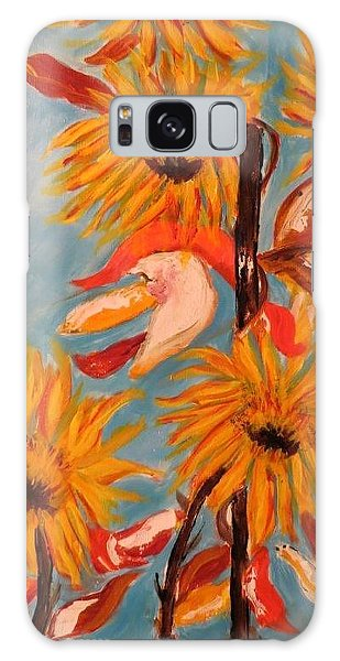 Sunflowers At Harvest Galaxy Case