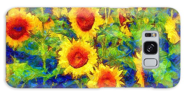 Sunflowers Dance In A Field Galaxy Case