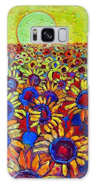 Sunflowers Field At Sunrise Galaxy Case