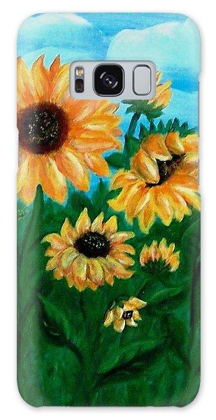 Galaxy Case featuring the painting Sunflowers For Mom by Sonya Nancy Capling-Bacle