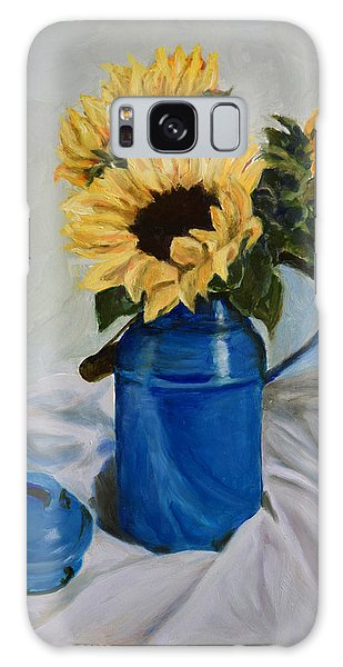 Sunflowers In Milkcan Galaxy Case by Sandra Nardone