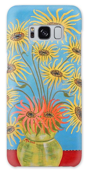 Sunflowers On Blue Galaxy Case