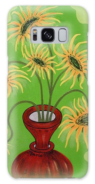 Sunflowers On Green Galaxy Case by Marie Schwarzer