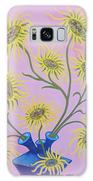 Sunflowers On Pink Galaxy Case by Marie Schwarzer