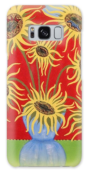 Sunflowers On Red Galaxy Case