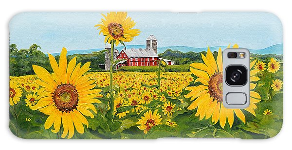Sunflowers On Route 45 - Pennsylvania- Autumn Glow Galaxy Case