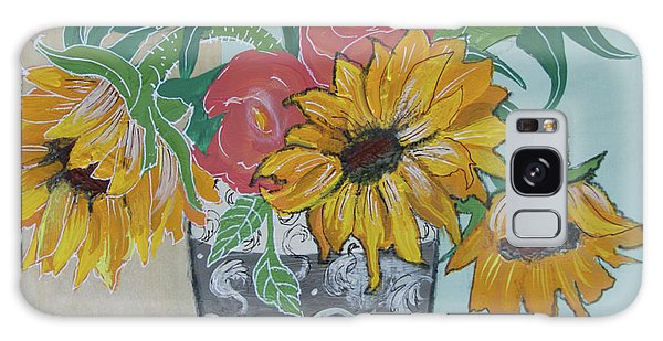 Galaxy Case featuring the painting Sunflowers Three by Robin Maria Pedrero