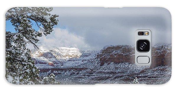 Sunlit Snowy Cliff Galaxy Case
