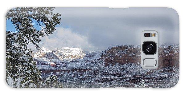 Sunlit Snowy Cliff Galaxy Case by Laura Pratt
