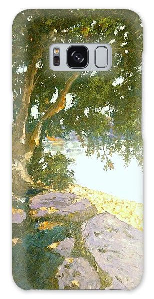 Galaxy Case featuring the painting Sunny Day By An Old Tree by Ray Khalife