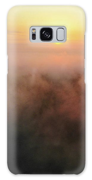 Galaxy Case featuring the photograph Sunrise And Morning Fog Warm Orange Light by Matthias Hauser