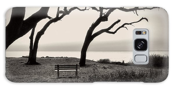 Sunrise At The Bench In Black And White Galaxy Case