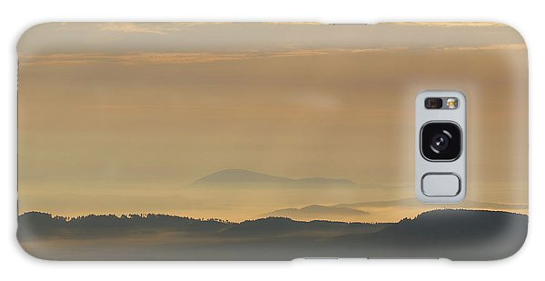 Sunrise In The Mountains - Hills In Morning Mist Galaxy Case by Michal Boubin