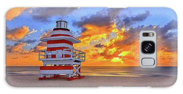 Sunrise Over Lifegaurd Stand On South Miami Beach  Galaxy Case by Justin Kelefas