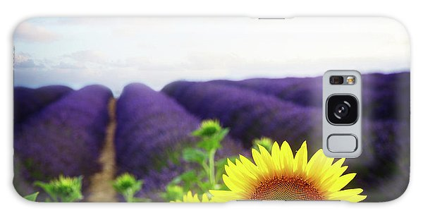 Sunrise Over Sunflower And Lavender Field Galaxy Case