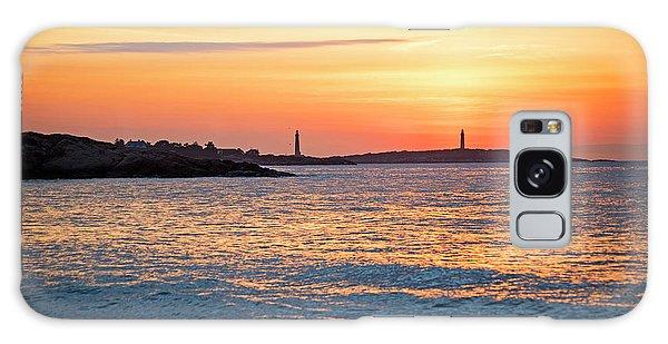 Sunrise Over Thacher Island From Long Beach In Gloucester Ma Golden Sunrise Galaxy Case