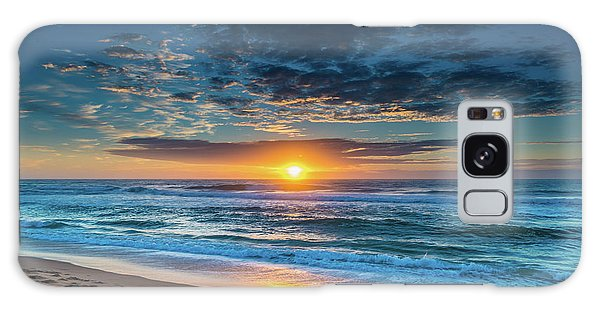 Sunrise Seascape With Footprints In The Sand Galaxy Case