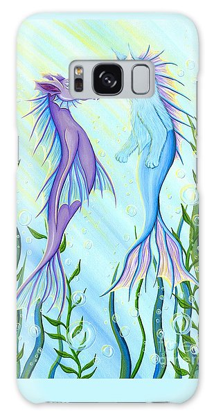 Galaxy Case featuring the painting Sunrise Swim - Sea Dragon Mermaid Cat by Carrie Hawks