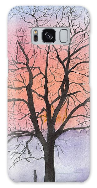 Sunrise Walnut Tree 2 Watercolor Painting Galaxy Case