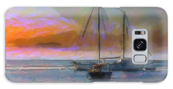 Sunrise With Boats Galaxy Case