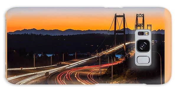 Sunset And Streaks Of Light - Narrows Bridges Tacoma Wa Galaxy Case