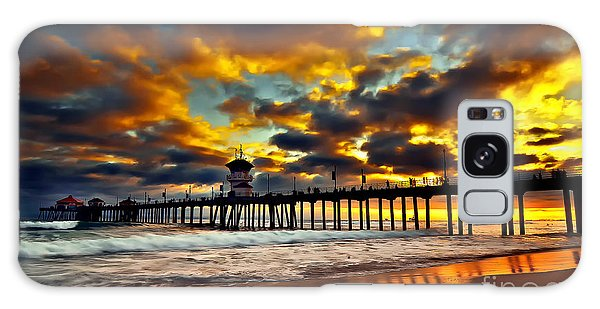 Sunset At Huntington Beach Pier Galaxy Case