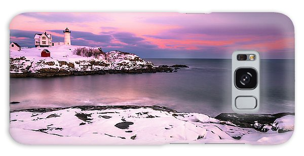 Sunset At Nubble Lighthouse In Maine In Winter Snow Galaxy Case by Ranjay Mitra