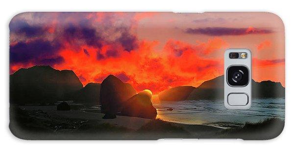 Sunset At Oregon Beach Galaxy Case