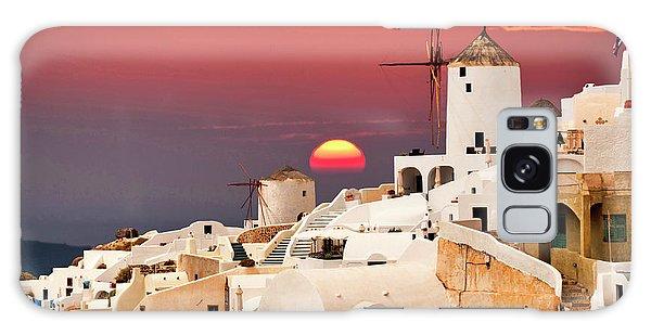sunset at Santorini Galaxy Case