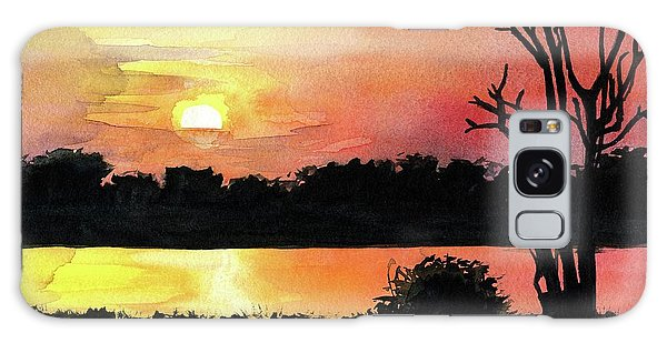Galaxy Case featuring the painting Sunset At Shire River In Malawi by Dora Hathazi Mendes