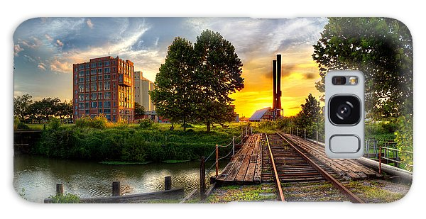 Sunset At The Imperial Sugar Factory Smoke Stacks Early Stage Landscape Galaxy Case