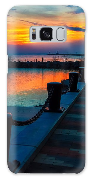 Sunset At The Lorain Lighthouse In Ohio Galaxy Case