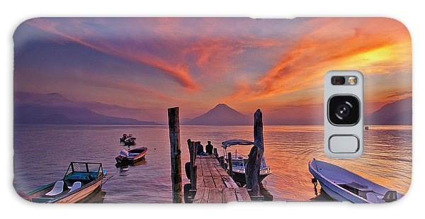 Sunset At The Panajachel Pier On Lake Atitlan, Guatemala Galaxy Case