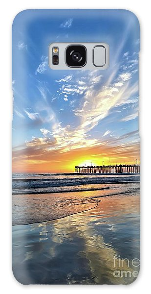 Sunset At The Pismo Beach Pier Galaxy Case by Vivian Krug Cotton