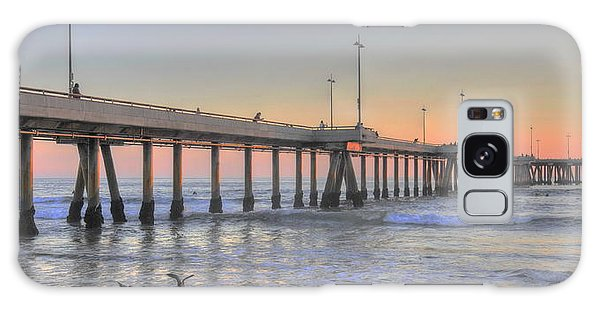 Sunset At Venice Beach Pier Galaxy Case