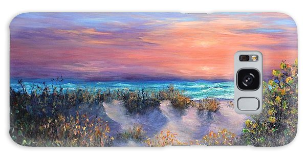 Sunset Beach Painting With Walking Path And Sand Dunesand Blue Waves Galaxy Case