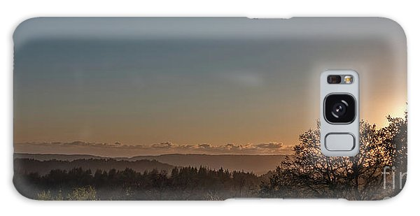 Sunset Behind Tree With Forest And Mountains In The Background Galaxy Case