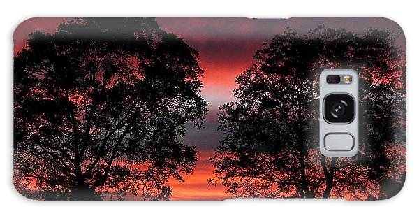 Sunset Behind Two Trees Galaxy Case
