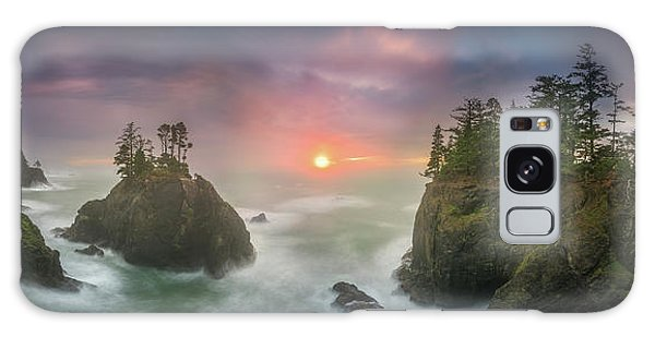 Sunset Between Sea Stacks With Trees Of Oregon Coast Galaxy Case