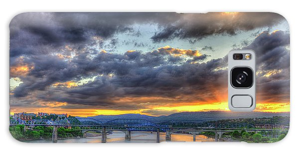 Sunset Bridges Of Chattanooga Walnut Street Market Street Galaxy Case