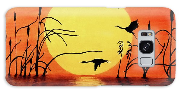 Sunset Geese Galaxy Case