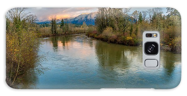 Sunset Glow Over The Snoqualmie River Galaxy Case by Rob Green