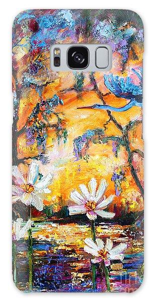 Sunset Heron Over Lotus Pond Galaxy Case