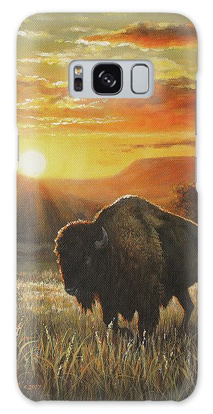 Sunset In Bison Country Galaxy Case by Kim Lockman