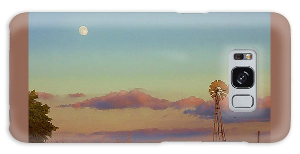 Galaxy Case featuring the digital art Sunset Moonrise With Windmill  by Shelli Fitzpatrick
