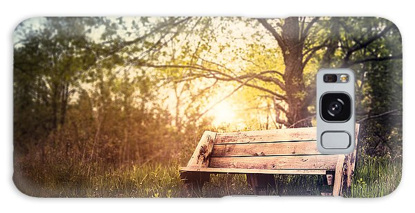 Bright Sun Galaxy Case - Sunset On A Wooden Bench by Scott Norris