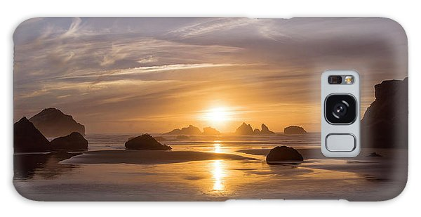 Sunset On Bandon Beach Galaxy Case