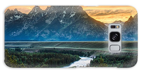 Sunset On Grand Teton And Snake River Galaxy Case