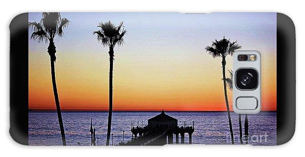 Sunset On Manhattan Beach Pier Galaxy Case